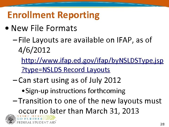 Enrollment Reporting • New File Formats – File Layouts are available on IFAP, as