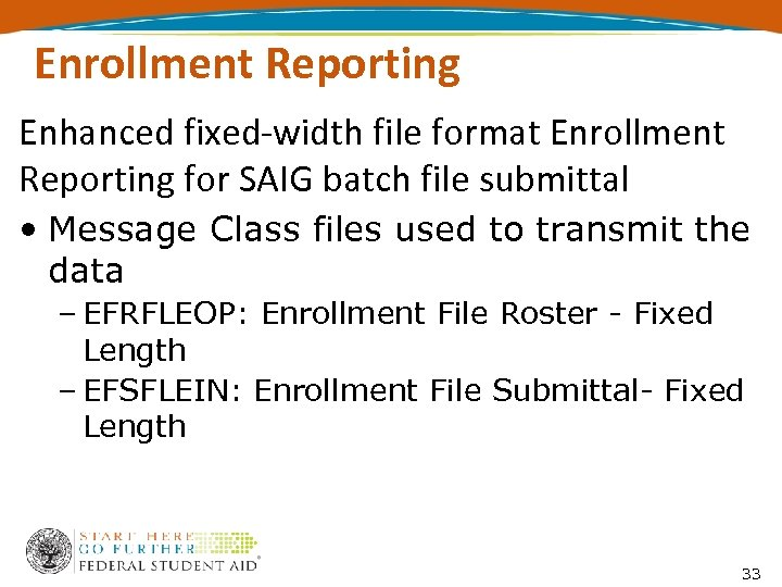 Enrollment Reporting Enhanced fixed-width file format Enrollment Reporting for SAIG batch file submittal •