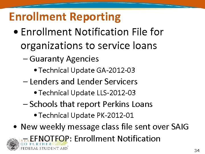 Enrollment Reporting • Enrollment Notification File for organizations to service loans – Guaranty Agencies