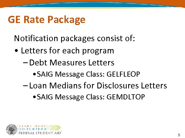 GE Rate Package Notification packages consist of: • Letters for each program – Debt