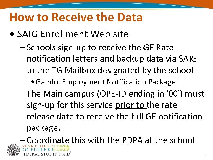 How to Receive the Data • SAIG Enrollment Web site – Schools sign-up to