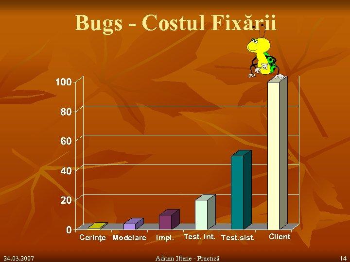 Bugs - Costul Fixării Cerinţe Modelare 24. 03. 2007 Impl. Test. Int. Test. sist.