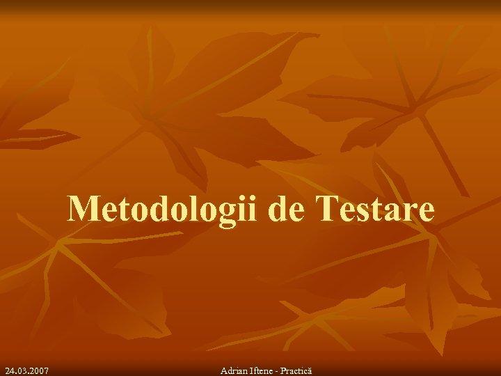 Metodologii de Testare 24. 03. 2007 Adrian Iftene - Practică