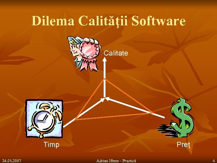 Dilema Calităţii Software Calitate Timp 24. 03. 2007 Preţ Adrian Iftene - Practică 4