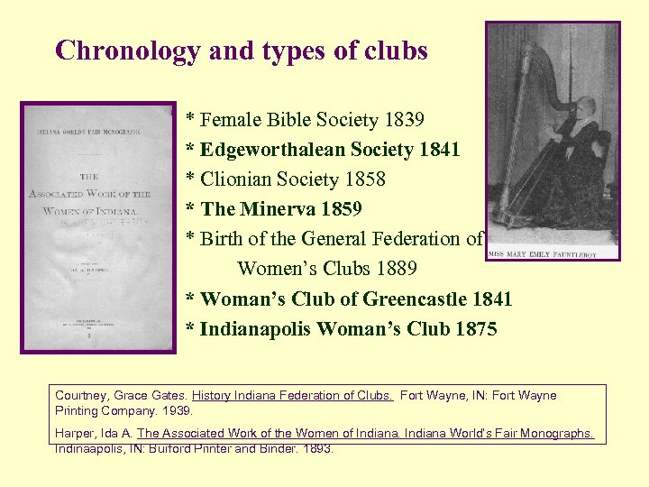 Chronology and types of clubs * Female Bible Society 1839 * Edgeworthalean Society 1841