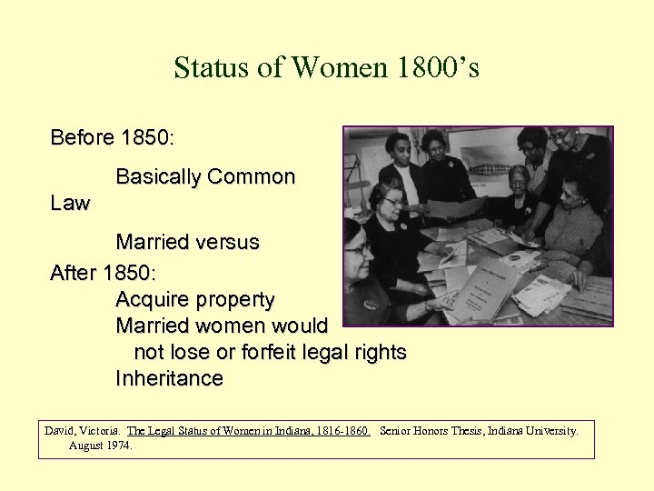Status of Women 1800's Before 1850: Basically Common Law Married versus Single After 1850: