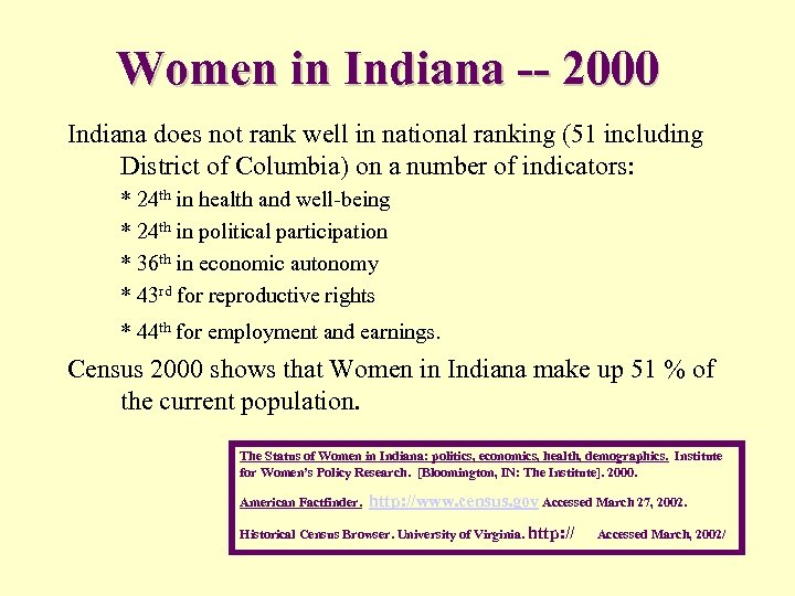 Women in Indiana -- 2000 Indiana does not rank well in national ranking (51