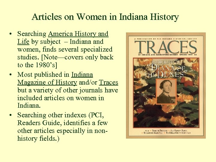 Articles on Women in Indiana History • Searching America History and Life by subject