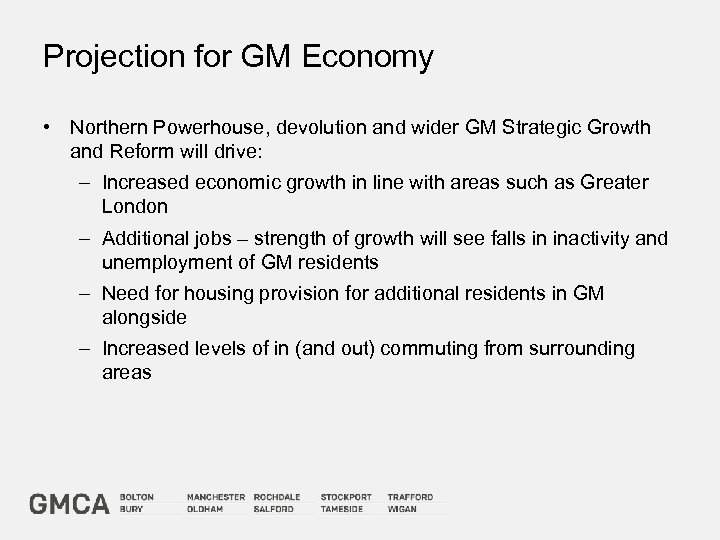 Projection for GM Economy • Northern Powerhouse, devolution and wider GM Strategic Growth and