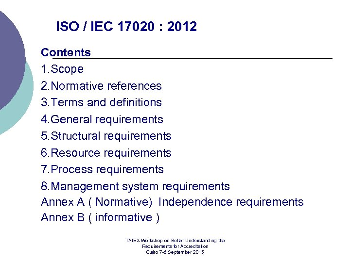 ISO / IEC 17020 : 2012 Contents 1. Scope 2. Normative references 3. Terms