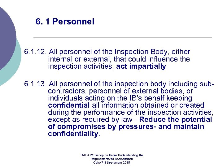 6. 1 Personnel 6. 1. 12. All personnel of the Inspection Body, either internal