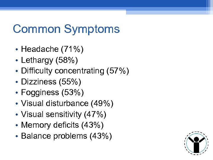 Common Symptoms • • • Headache (71%) Lethargy (58%) Difficulty concentrating (57%) Dizziness (55%)