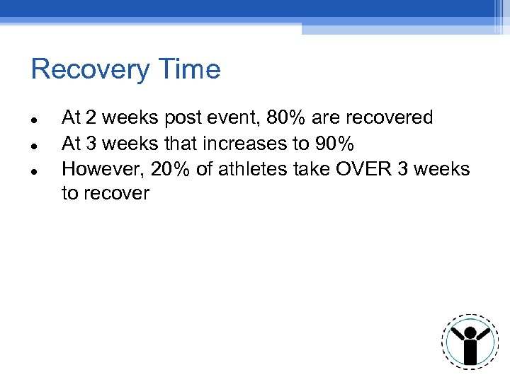 Recovery Time At 2 weeks post event, 80% are recovered At 3 weeks that