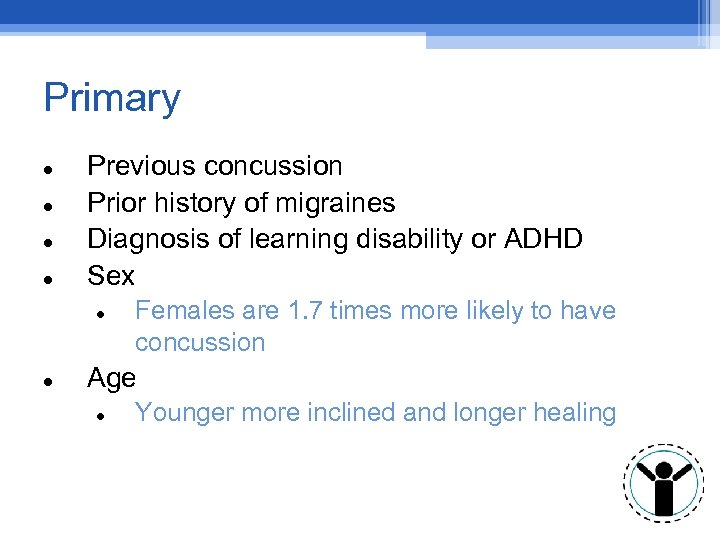 Primary Previous concussion Prior history of migraines Diagnosis of learning disability or ADHD Sex