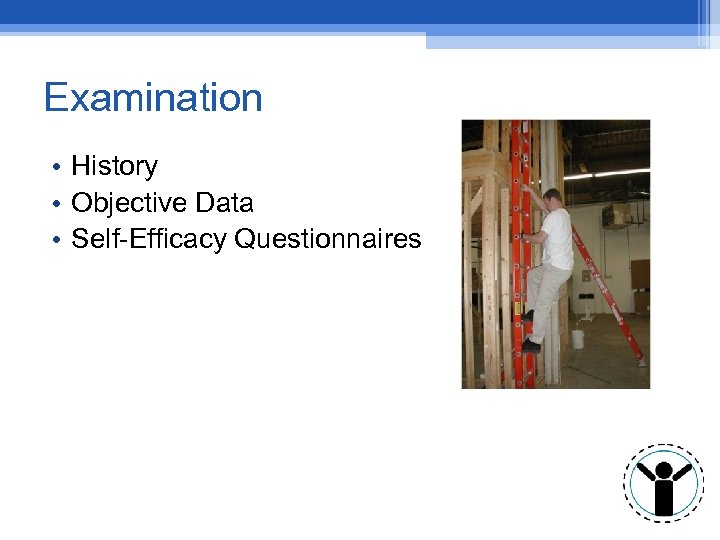 Examination • History • Objective Data • Self-Efficacy Questionnaires