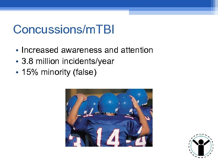 Concussions/m. TBI • Increased awareness and attention • 3. 8 million incidents/year • 15%