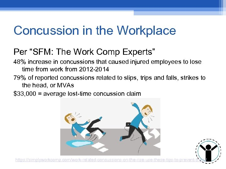 "Concussion in the Workplace Per ""SFM: The Work Comp Experts"" 48% increase in concussions"