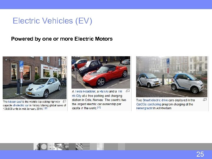 Electric Vehicles (EV) Powered by one or more Electric Motors 25