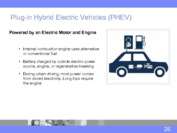 Plug-in Hybrid Electric Vehicles (PHEV) Powered by an Electric Motor and Engine • Internal