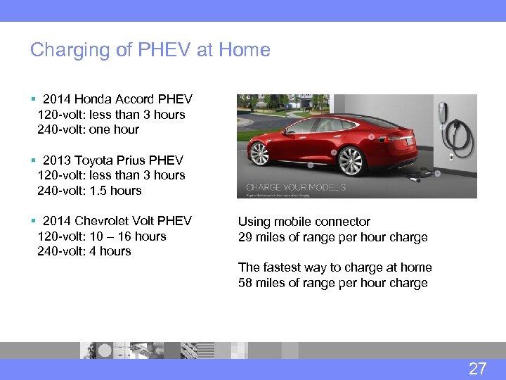 Charging of PHEV at Home § 2014 Honda Accord PHEV 120 -volt: less than