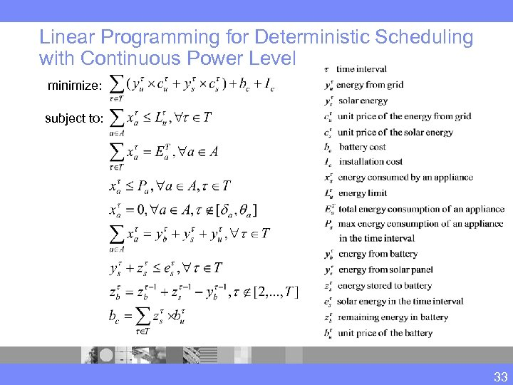 Linear Programming for Deterministic Scheduling with Continuous Power Level minimize: subject to: 33
