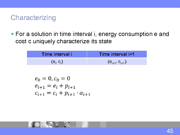 Characterizing § For a solution in time interval i, energy consumption e and cost