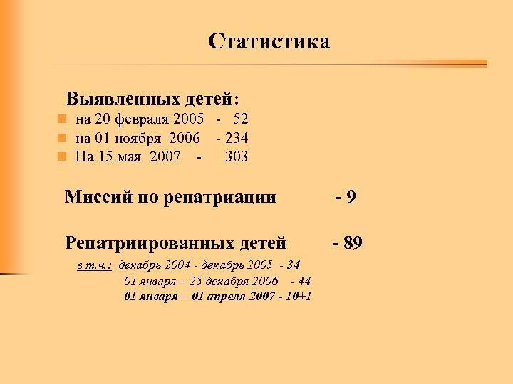 Статистика Выявленных детей: n на 20 февраля 2005 - 52 n на 01 ноября