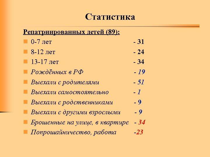 Статистика Репатриированных детей (89): n 0 -7 лет n 8 -12 лет n 13