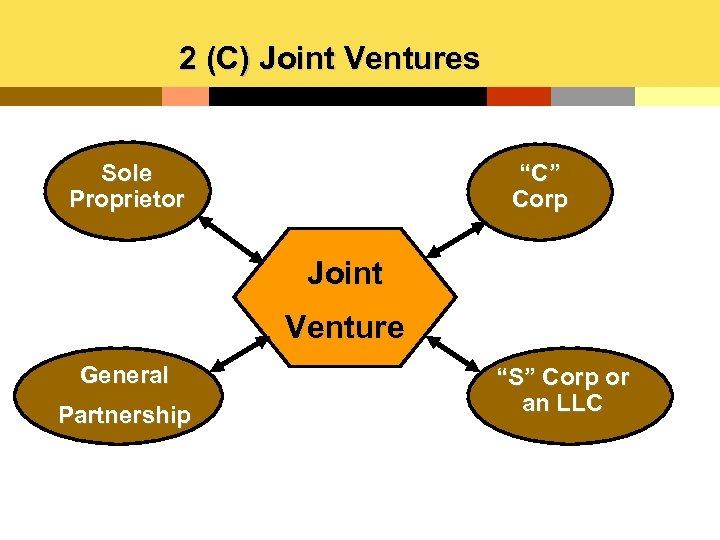 "2 (C) Joint Ventures Sole Proprietor ""C"" Corp Joint Venture General Partnership ""S"" Corp"