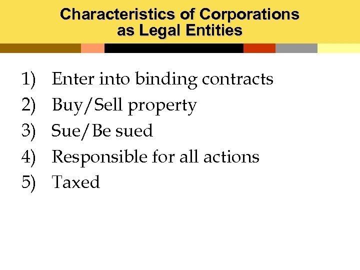 Characteristics of Corporations as Legal Entities 1) 2) 3) 4) 5) Enter into binding