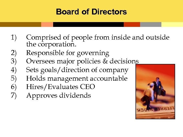 Board of Directors 1) 2) 3) 4) 5) 6) 7) Comprised of people from