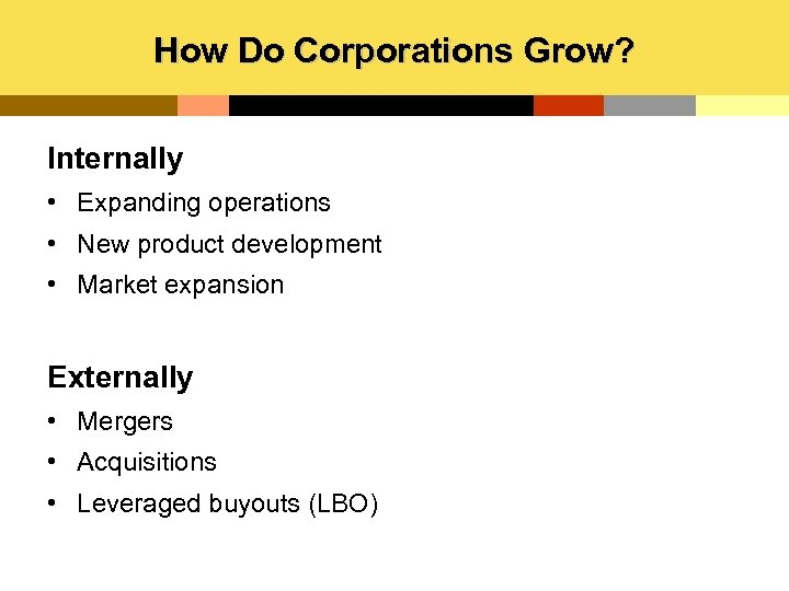 How Do Corporations Grow? Internally • Expanding operations • New product development • Market
