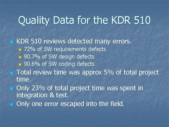 Quality Data for the KDR 510 n KDR 510 reviews detected many errors. n