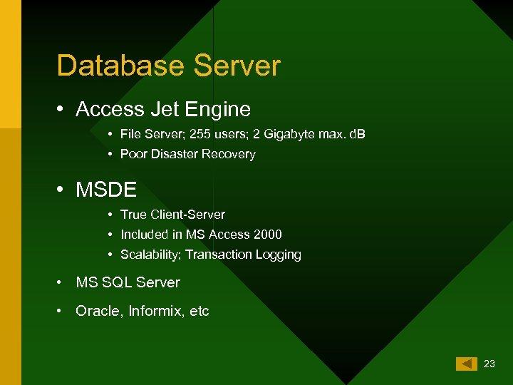 Database Server • Access Jet Engine • File Server; 255 users; 2 Gigabyte max.