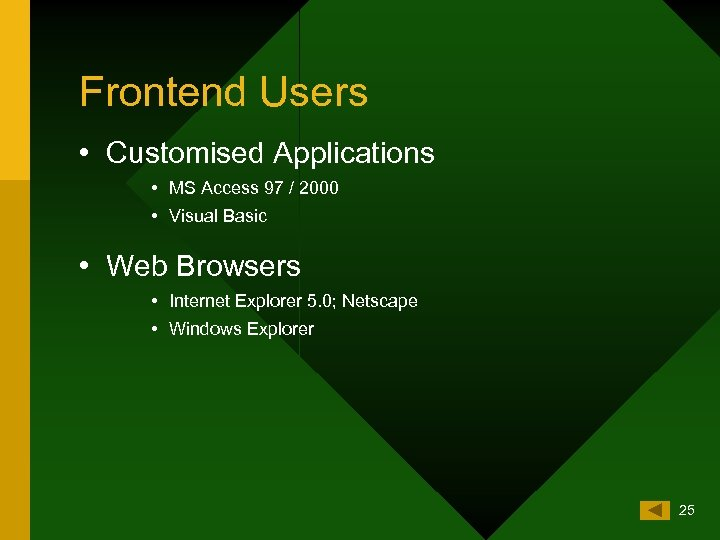 Frontend Users • Customised Applications • MS Access 97 / 2000 • Visual Basic