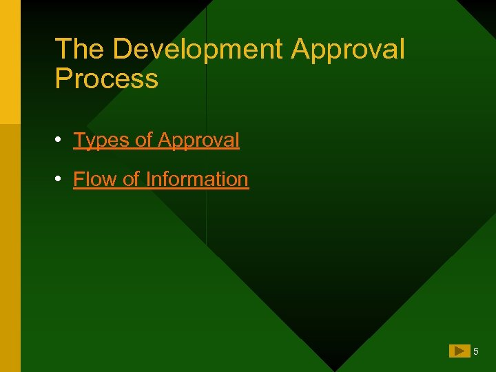 The Development Approval Process • Types of Approval • Flow of Information 5