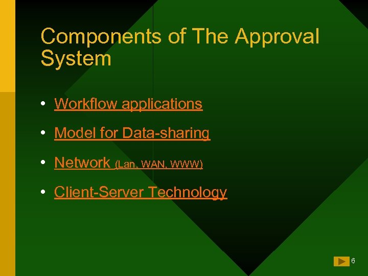 Components of The Approval System • Workflow applications • Model for Data-sharing • Network