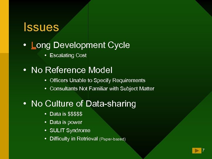 Issues • Long Development Cycle • Escalating Cost • No Reference Model • Officers