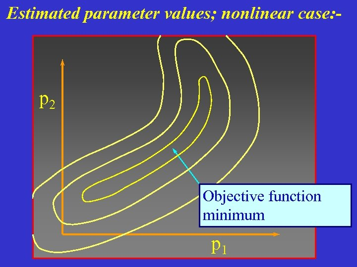 Estimated parameter values; nonlinear case: - p 2 Objective function minimum p 1