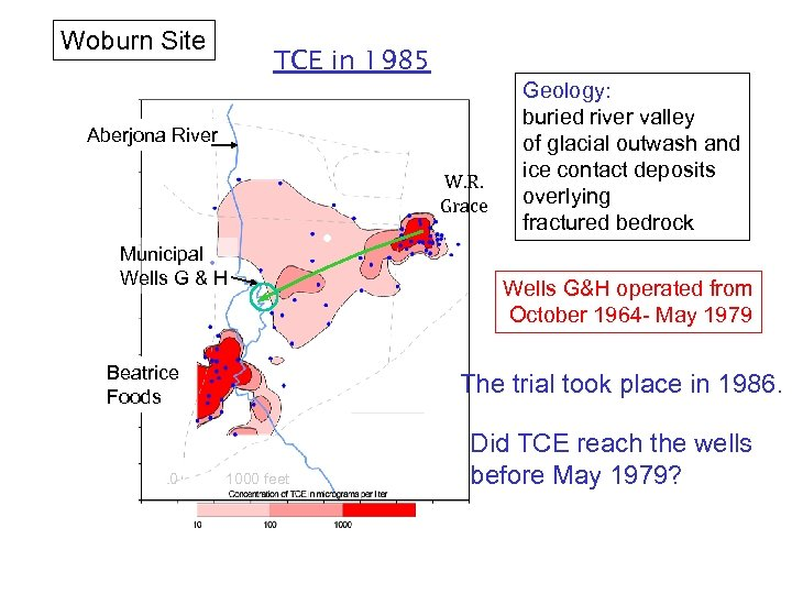 Woburn Site TCE in 1985 Aberjona River W. R. Grace Municipal Wells G &