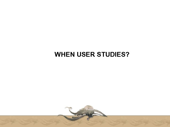 WHEN USER STUDIES?