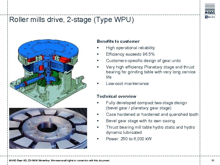 Roller mills drive, 2 -stage (Type WPU) Benefits to customer § § § High