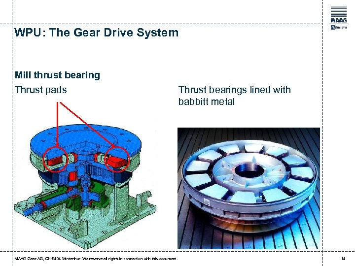 WPU: The Gear Drive System Mill thrust bearing Thrust pads MAAG Gear AG, CH-8404