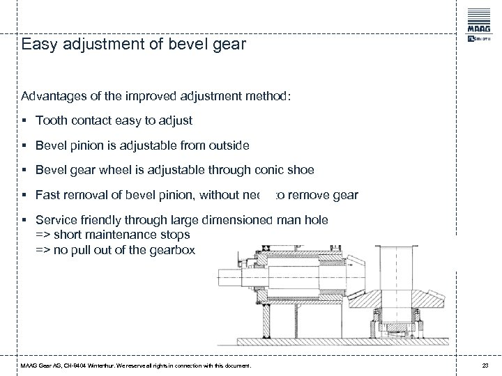 Easy adjustment of bevel gear Advantages of the improved adjustment method: § Tooth contact