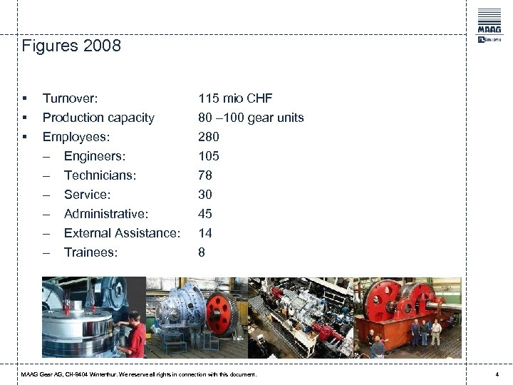 Figures 2008 § § § Turnover: 115 mio CHF Production capacity Employees: 80 –