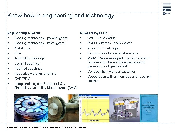 Know-how in engineering and technology Engineering experts Supporting tools § § § § Gearing