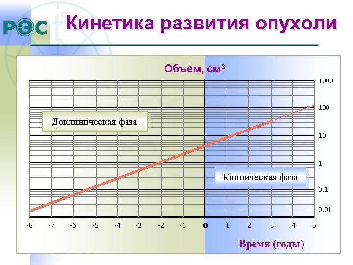 Кинетика развития опухоли Объем, cм 3 1000 100 Доклиническая фаза 10 1 Клиническая фаза