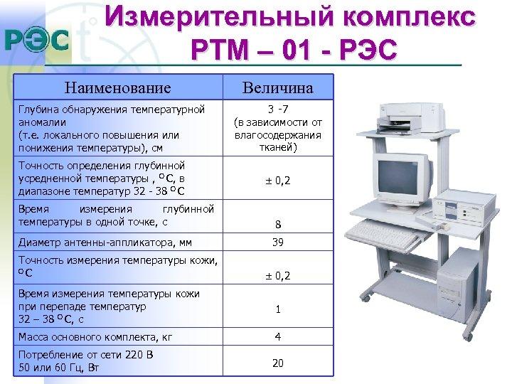 Измерительный комплекс РТМ – 01 - РЭС Наименование Глубина обнаружения температурной аномалии (т. е.