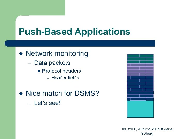 Push-Based Applications l Network monitoring – Data packets l Protocol headers – l Header