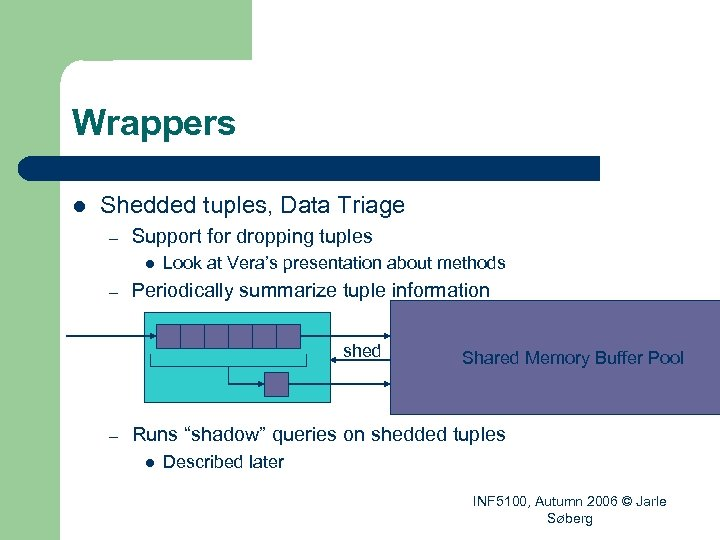 Wrappers l Shedded tuples, Data Triage – Support for dropping tuples l – Look